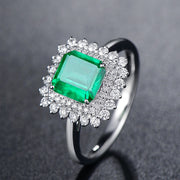 Wiley Hart Sparkling Green Emerald Sapphire Engagement Ring in White Gold or Silver