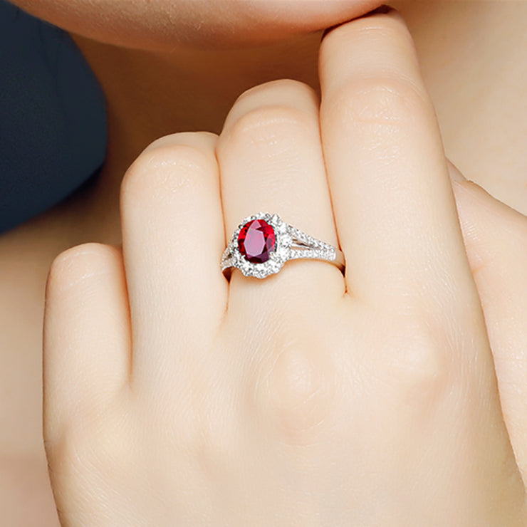 Wiley Hart Handmade Designer's Choice Red Sapphire Engagement Ring in White Gold or Silver