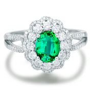 Wiley Hart Vintage Oval Green Sapphire Engagement Ring in White Gold or Silver
