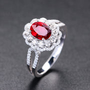 Wiley Hart Vintage Red Sapphire Women's Ring Engagement Ring in White Gold or Silver