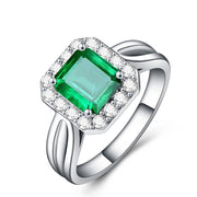 Wiley Hart Stylish Shank Green Emerald Sapphire Engagement Ring in White Gold or Silver