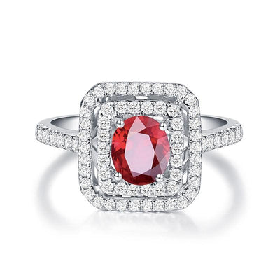 Wiley Hart Double Halo Handcrafted Pretty Red Sapphire Engagement Ring in White Gold or Silver
