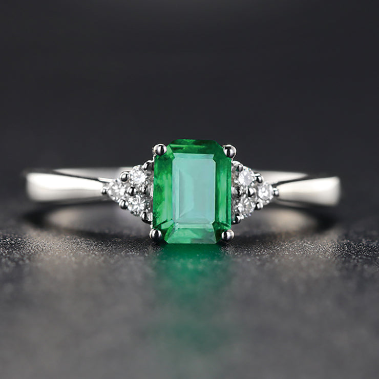 Wiley Hart Green Sapphire Emerald Engagement Ring in White Gold or Silver