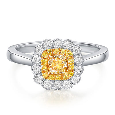 Wiley Hart Simply Romance Princess Cut Yellow Sapphire Engagement Ring Women's Ring White Gold or Silver