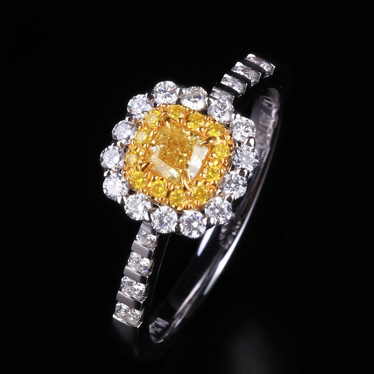 Wiley Hart Fancy Yellow Sapphire Ring Princess Cut Engagement Ring White Gold or Sterling Silver