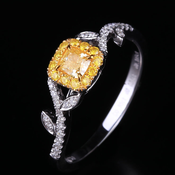 Wiley Hart Fancy Yellow Sapphire Ring Princess Cut Feminine Engagement Ring White Gold or Sterling Silver