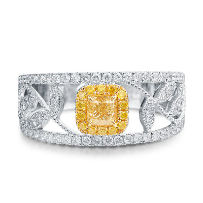 Wiley Hart Designer Fancy Yellow Princess Sapphire Ring Band Women's Ring Band Gold or Silver