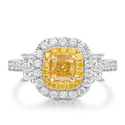 Wiley Hart Princess Cut Designer Yellow Sapphire Women's Engagement Ring White Gold or Silver