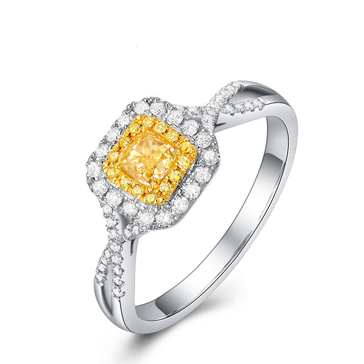 Wiley Hart Designer Princess Cut Yellow Sapphire Engagement Ring Women's Ring Twisted Shank Gold or Silver