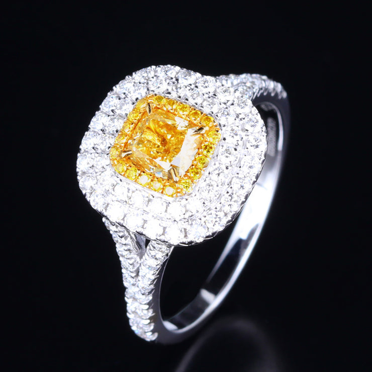 Wiley Hart Princess Cut Double Halo Yellow Sapphire Women's Engagement Ring Split Shank Gold or Silver