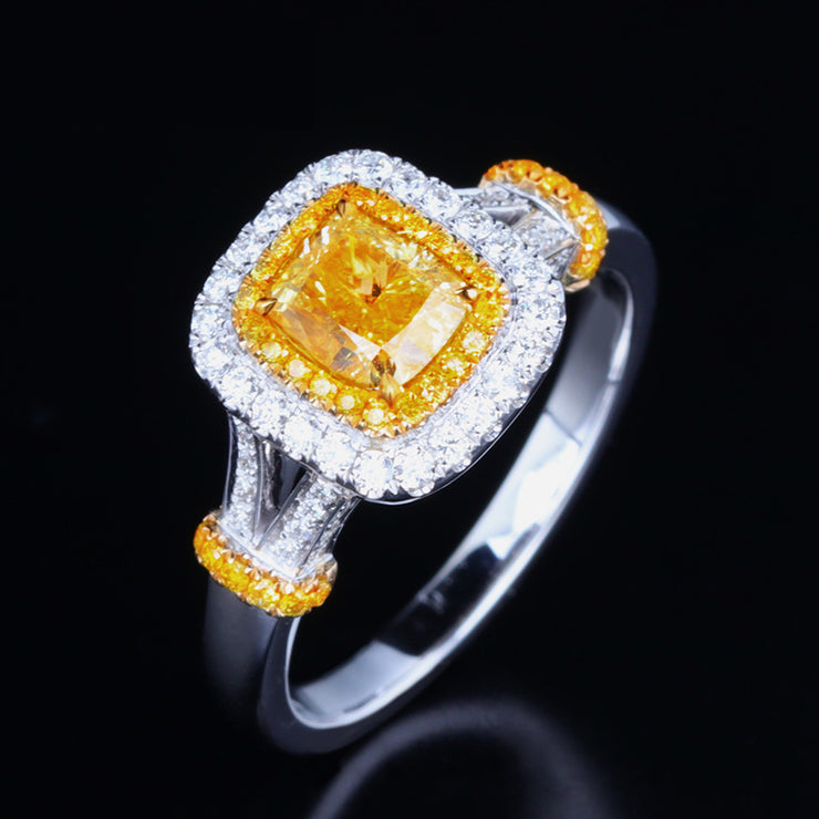 Wiley Hart Glamorous Fancy Yellow Sapphire Engagement Ring Women's Ring White Gold or Silver