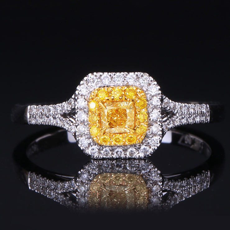 Wiley Hart Princess Cut Yellow Sapphire Women's Engagement Ring Split Shank Gold or Silver