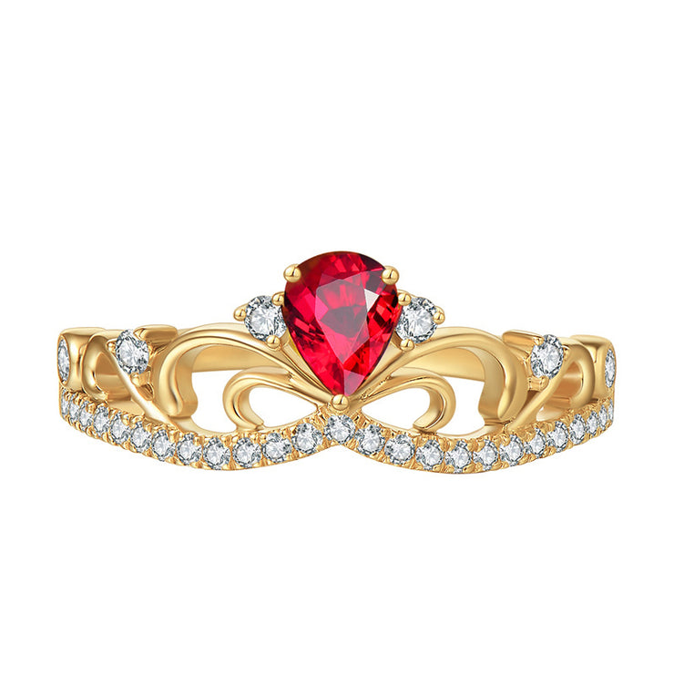 Wiley Hart Pretty Office Lady Pear Shape Red Sapphire Women's Ring in White Gold or Silver