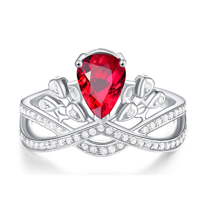 Wiley Hart Designer Crown Red Sapphire Women's Ring in White Gold or Silver