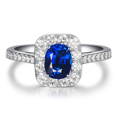 Wiley Hart Sparkling Blue Sapphire Engagement Ring White Gold or Sterling Silver Wiley Hart