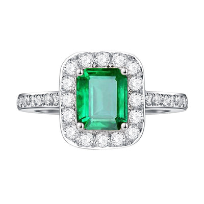 Wiley Hart Royal Emerald Green Sapphire Engagement Ring in White Gold or Silver