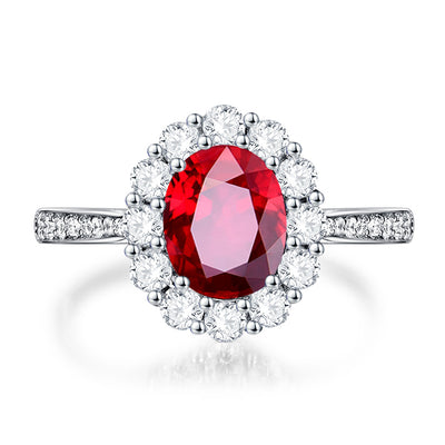 Wiley Hart Pretty Lady Red Sapphire Engagement Ring in White Gold or Sterling Silver