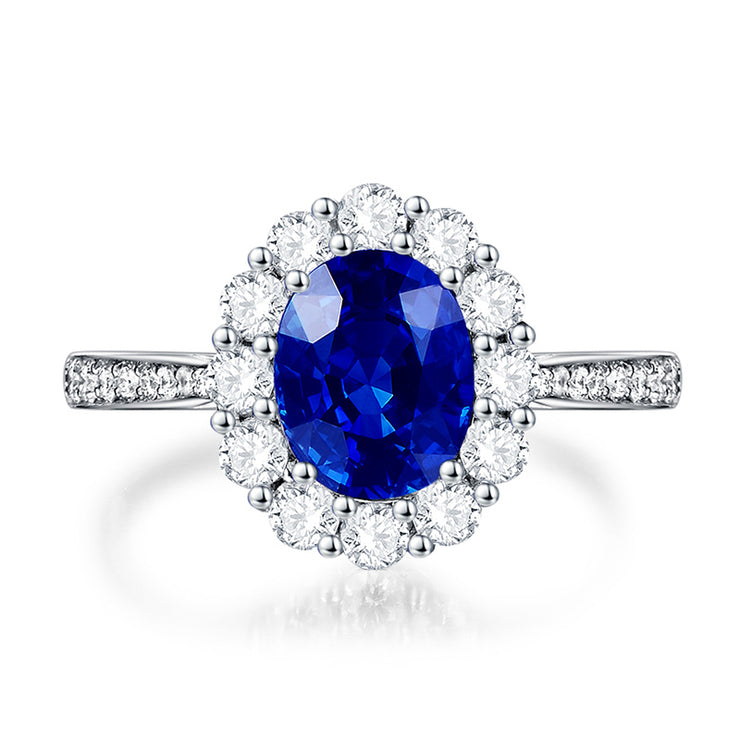 Wiley Hart 2 Carat Oval Diamond Ring Blue Sapphire Solitaire Halo Engagement Wedding Rings