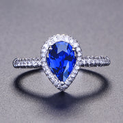 Pear Blue Sapphire Engagement Ring White Gold or Sterling Silver Wiley Hart