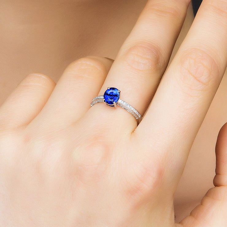 Wiley Hart Flawless Blue Sapphire Women's Engagement Ring White Gold or Sterling Silver