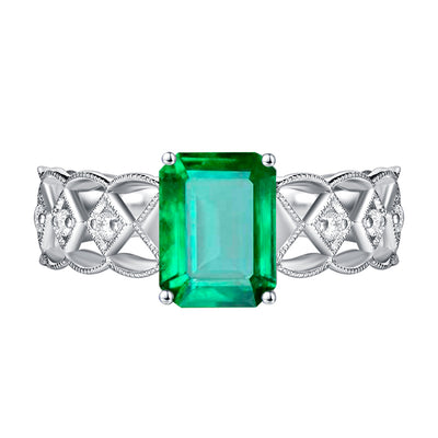 Wiley Hart Stylish Emerald Green Sapphire Women's Ring in White Gold or Silver