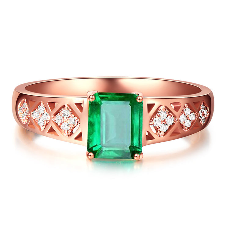 Wiley Hart Rose Gold Queen Green Sapphire Women's Ring in White Gold or Silver