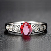 Wiley Hart Red Sapphire Princess Ring Band in White Gold or Silver