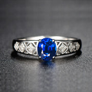 Wiley Hart Exotic Oval Cut Blue Sapphire Engagement Ring White Gold or Sterling Silver