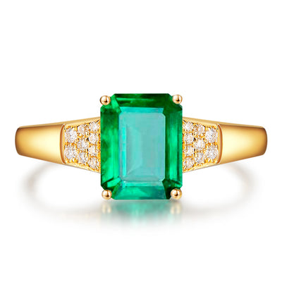 Wiley Hart Elegant Emerald Green Sapphire Engagement Ring in White Gold or Silver