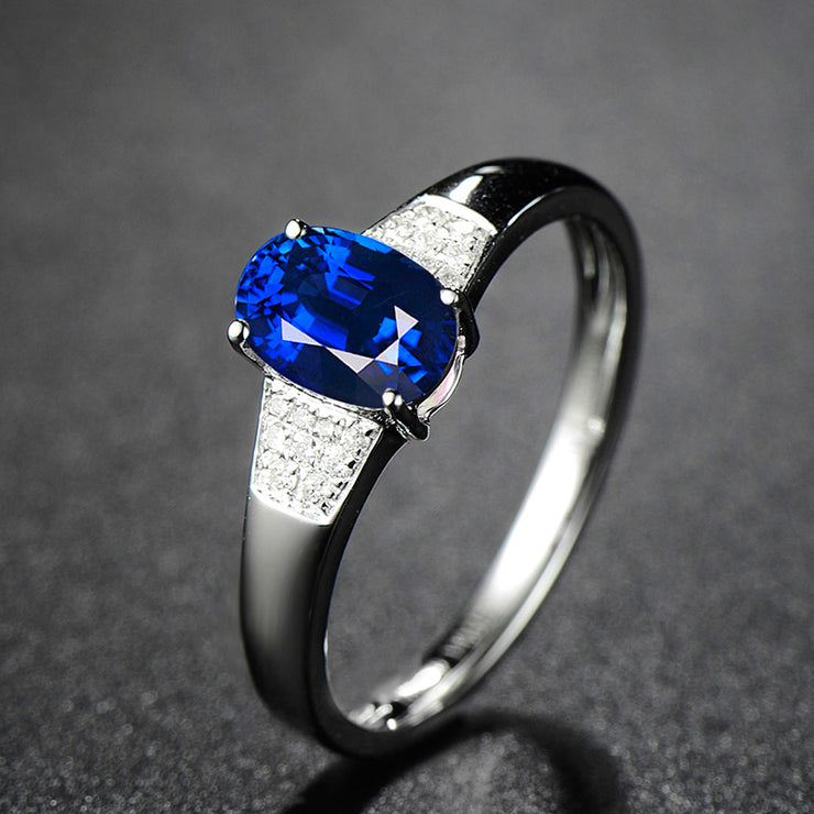 Wiley Hart Trendy Oval Cut Blue Sapphire Engagement Ring White Gold or Sterling Silver