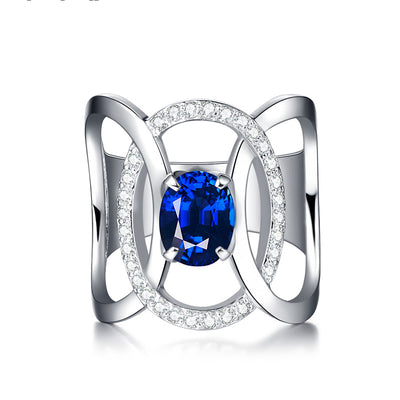 Wiley Hart Dazzling Blue Sapphire Cocktail Ring Band White Gold or Sterling Silver