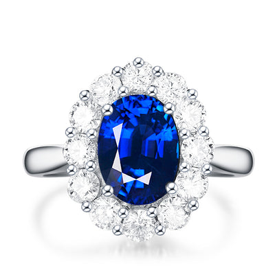Classic Halo Blue Sapphire Engagement Ring White Gold or Sterling Silver Wiley Hart