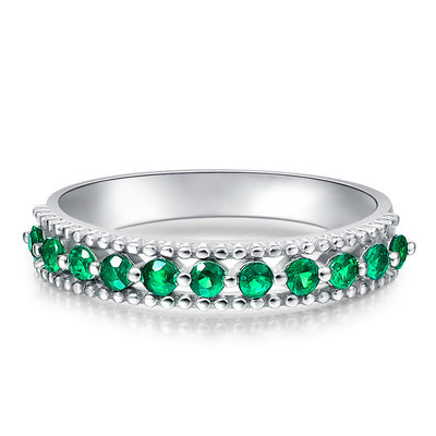 Wiley Hart Full of Green Sapphire Women's Ring Band in White Gold or Silver