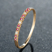 Wiley Hart Women's Stackable Ring Band Red Sapphire Anniversary Gift in 14K Gold or Silver