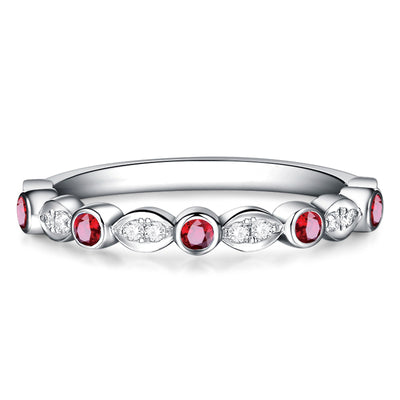 Wiley Hart Classic Red Sapphire Wedding Ring Wedding Band Anniversary Gift in White Gold or Silver