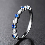 Wiley Hart Vintage Pretty Blue Sapphire Wedding Ring Wedding Band White Gold or Sterling Silver