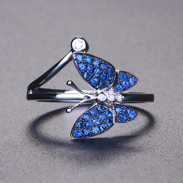 Wiley Hart Butterfly Blue Sapphire Ring White Gold or Sterling Silver