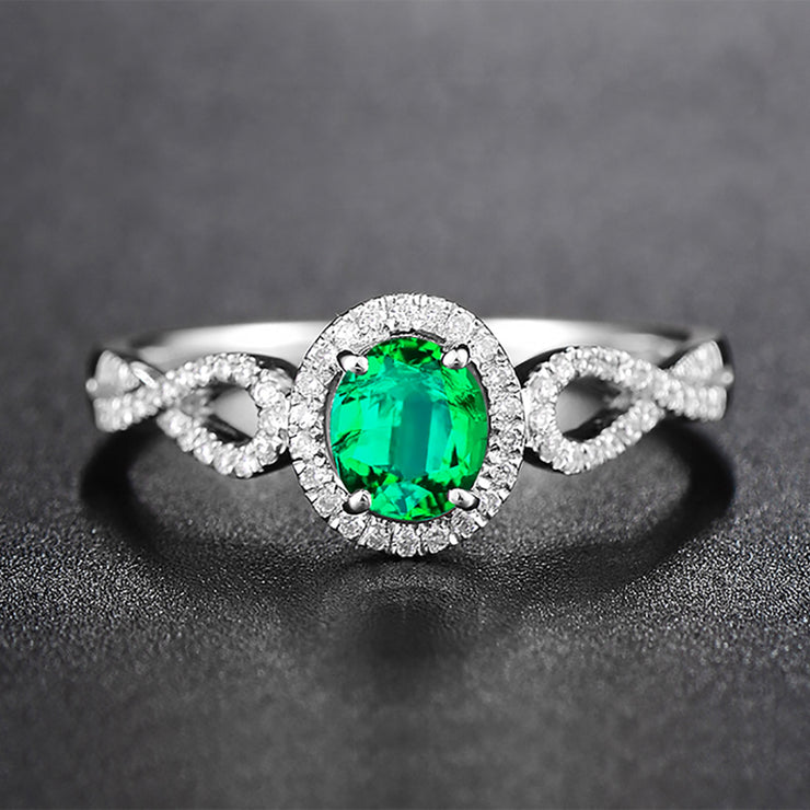 Wiley Hart Green Sapphire Engagement Ring Twisted Shank Oval Cut in White Gold or Silver