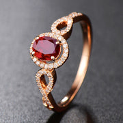 Wiley Hart Vintage Rose Gold Red Sapphire Engagement Ring Twisted Shank in White Gold or Silver