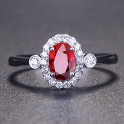Wiley Hart Red Sapphire Engagement Ring Wedding Ring Anniversary Gift in White Gold or Silver