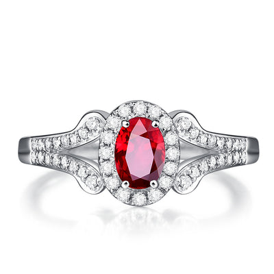 Wiley Hart Red Sapphire Engagement Ring Split Shank Wedding Ring in White Gold or Silver