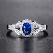 Blue Sapphire Split Shank Women's Engagement Ring Anniversary Ring White Gold or Sterling Silver Wiley Hart