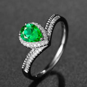 Wiley Hart Unique Pear Shape Green Sapphire Engagement Ring in White Gold or Silver