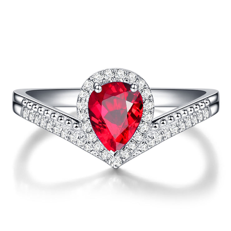 Wiley Hart Designer's Ring Red Sapphire Engagement Ring in White Gold or Silver