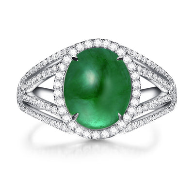 Wiley Hart Handmade Vintage Green Sapphire Ring Split Shank Women's Ring in White Gold or Silver