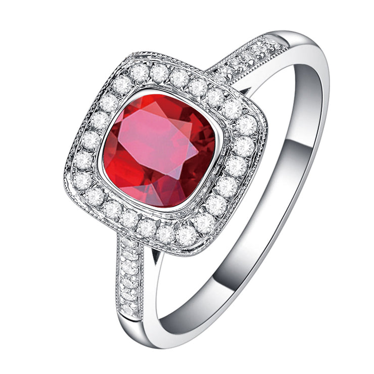 Wiley Hart Red Sapphire Engagement Ring Cushion Cut Anniversary Ring in White Gold or Silver