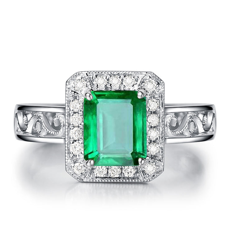 Wiley Hart Emerald Green Sapphire Engagement Ring Fancy in White Gold or Silver