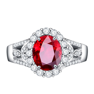 Wiley Hart Handmade Red Sapphire Engagement Ring Cocktail Ring in White Gold or Silver