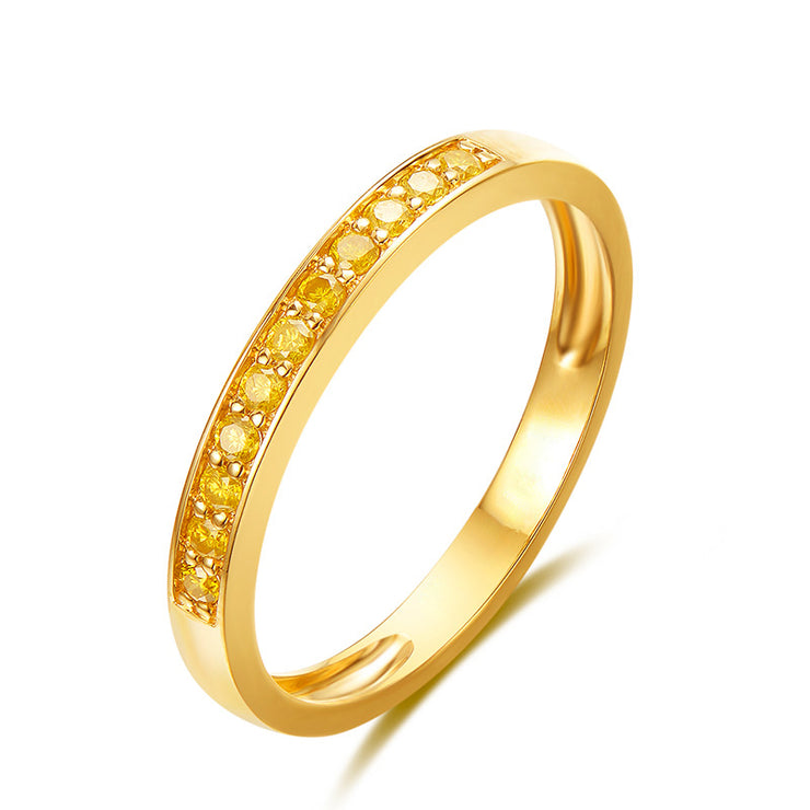Wiley Hart Designer Yellow Sapphire Women's Ring Band Classic Wedding Band Gold or Silver