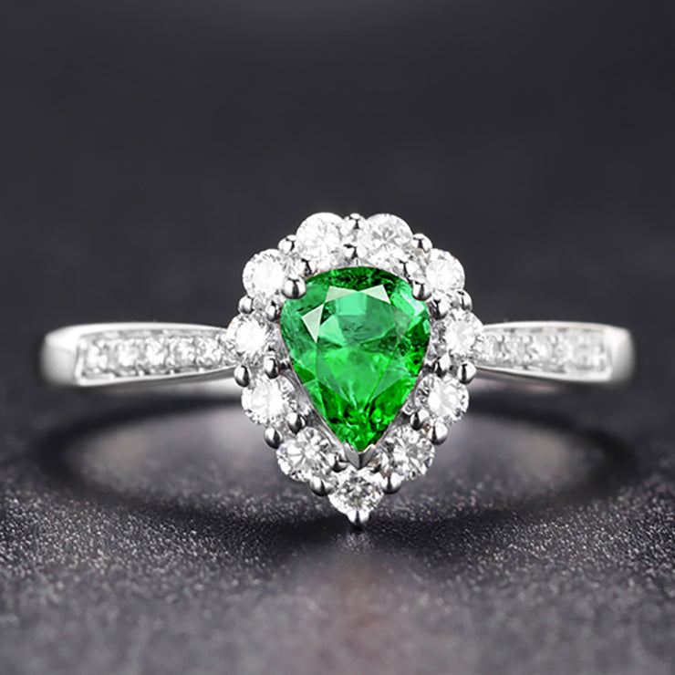 Wiley Hart Pear Shape Elegant Green Sapphire Engagement Ring in White Gold or Silver
